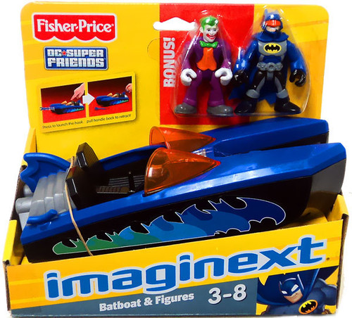 Fisher Price DC Super Friends Batman Imaginext Batboat 3-Inch Figure Set [Bonus Joker]