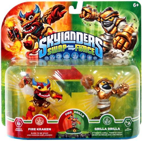 Skylanders Swap Force Swappable Fire Kraken & Grilla Drilla Exclusive Figure 2-Pack