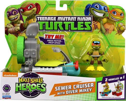 Teenage Mutant Ninja Turtles TMNT Half Shell Heroes Sewer Cruiser with Michelangelo Action Figure Vehicle