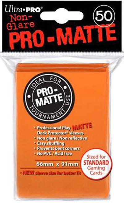 Ultra Pro Card Supplies Non-Glare Pro-Matte Orange Standard Card Sleeves [50 ct]