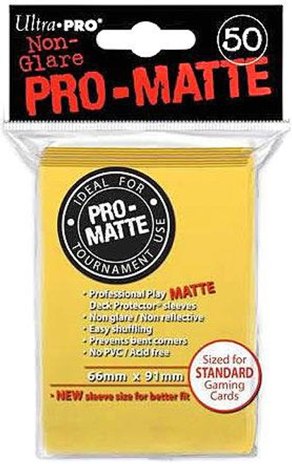 Ultra Pro Card Supplies Non-Glare Pro-Matte Yellow Standard Card Sleeves [50 ct]