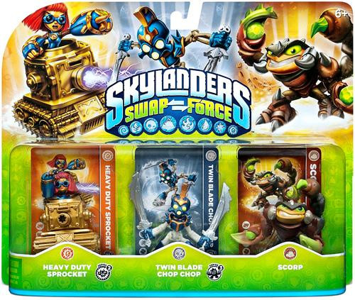 Skylanders Swap Force Heavy Duty Sprocket, Twin Blade Chop Chop & Scorp Figure 3-Pack