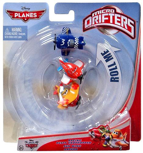 Disney Planes Micro Drifters Racing Dusty Crophopper, Sun Wing & Arturo Vehicle 3-Pack