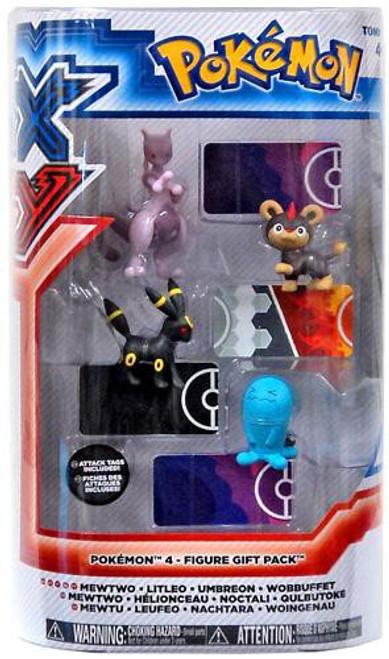 Pokemon XY Basic Mewtwo, Litleo, Umbreon & Wobbuffet Figure 4-Pack