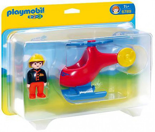 Playmobil 1.2.3 Fire Rescue Helicopter Set #6789