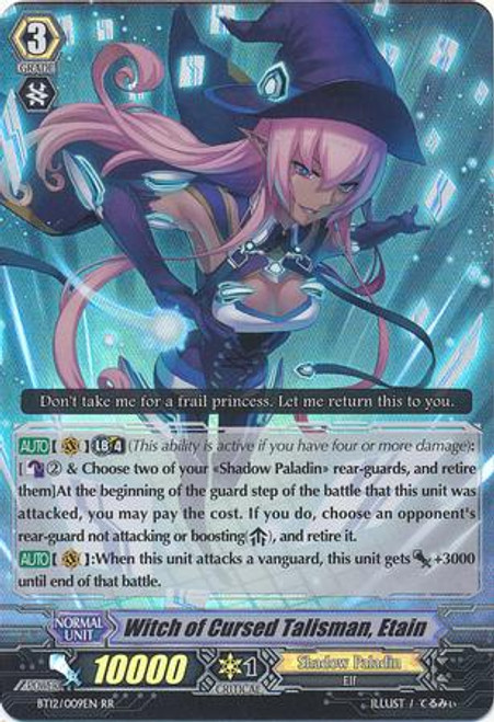 Cardfight Vanguard Binding Force of the Black Rings RR Rare Witch of Cursed Talisman, Etain BT12/009