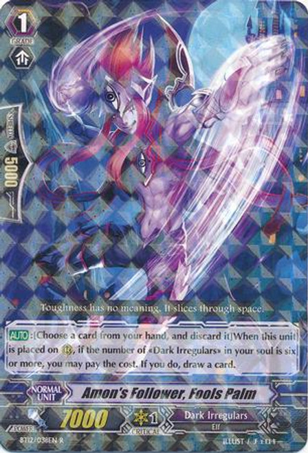Cardfight Vanguard Binding Force of the Black Rings Rare Amon's Follower, Fool's Palm BT12/038