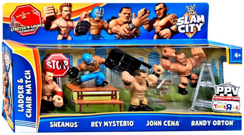WWE Wrestling Slam City Ladder & Chair Match Exclusive Action Figure 4-Pack