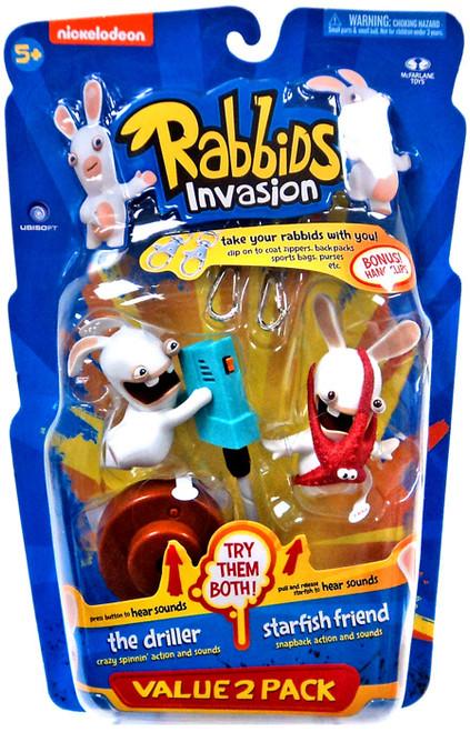McFarlane Toys Raving Rabbids Rabbids Invasion Series 2 The Driller & Starfish Friend Action Figure 2-Pack