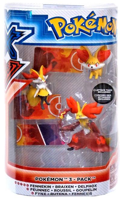 Pokemon XY Evolution Fennekin, Braixen & Delphox Figure 3-Pack