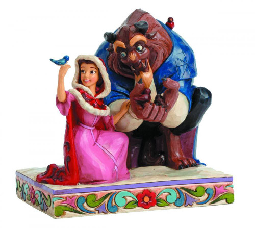 Disney Princess Beauty and the Beast Disney Traditions Belle & The Beast In Winter Statue
