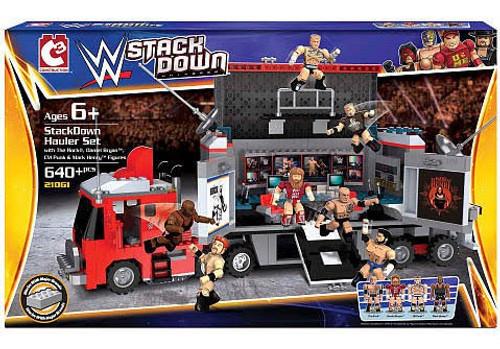 WWE Wrestling C3 Construction StackDown CM Punk & The Rock Hauler Playset #21061
