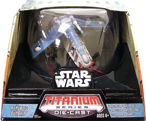 Star Wars The Clone Wars Titanium Series Ultra Vehicles Republic Gunship Diecast Vehicle [CN Tigershark]