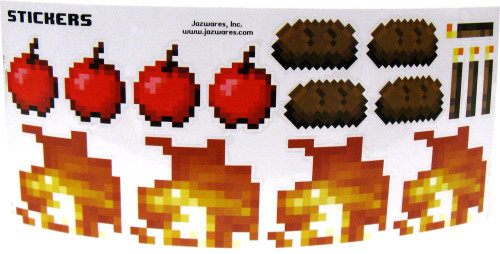 Minecraft Sticker Set Papercraft [Fire, Torch, Steak & Apple] [Single Piece]