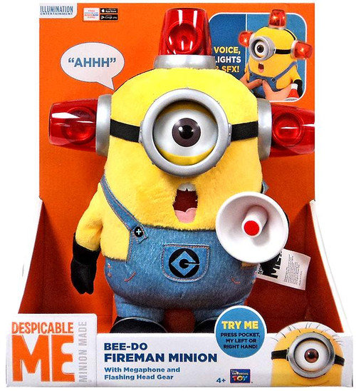 Despicable Me Minion Made Bee-Do Fireman Minion 13-Inch Talking Plush Figure