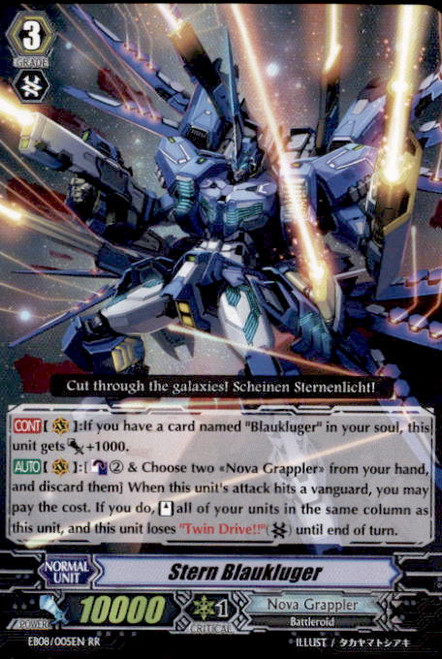 Cardfight Vanguard Champions of the Cosmos RR Rare Stern Blaukluger EB08/005