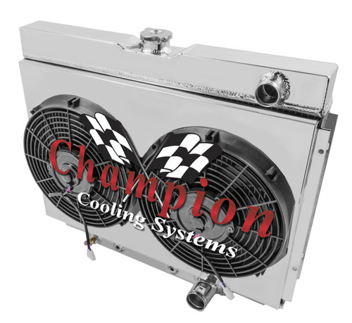 3 Row Aluminum Radiator Shroud Fan For Ford Mustang Svo: 1967 68 69 70 Ford Mustang 3 Row Champion Alum Radiator