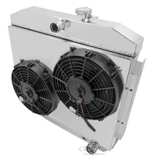 1955 1956 1957 chevy cars w  v8 mount 2 row aluminum radiator fan shroud combo performance cooling