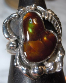 Sterling Silver 5.02 carat Fire Agate Gemstone Ring size 5 1/2 New Jewelry