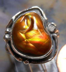 New Sterling Silver and Fire Agate Gem ring size 4 1/4