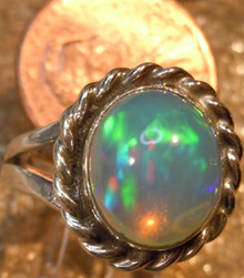 New Jewelry Sterling Silver 2.86 ct. Ethiopian Fire Opal Gem Ring size 4 1/2