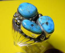 Mens Sterling Silver Turquoise Ring by Mike Thomas Jr Size 10 3/4 Navajo Jewelry