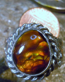 Mens Sterling Silver Jewelry 7.94 ct Fire Agate Gemstone Nugget Ring size 8 3/4