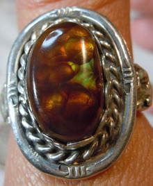 Mens Sterling Silver 9.95 carat Fire Agate Gemstone Ring size 9 1/2 New Jewelry