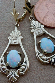 14 KT SOLID Gold Australian Opal dangle Earrings decorative design New jewelry