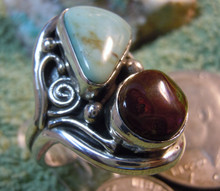 New Mens Fire Agate Turquoise Sterling Ring by Navajo L. James Size 10