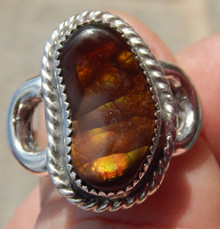 New Mens Sterling Silver 7.93 cts Fire Agate Gemstone Ring Size 12