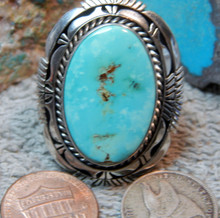 Ladies Sterling Silver Large Turquoise Ring Navajo Eugene Belone Size 8 3/4