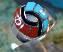 Mens Sterling Turquoise Coral Inlay Hummingbird Ring Amy Quandelacy Size 10 1/2
