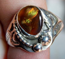 New Mens Sterling Silver Fire Agate Gemstone Ring Size 11 1/4