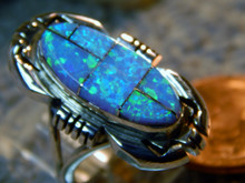 Ladies Silver Created Opal Inlay Ring by Navajo Ray Jack Size 7 1/4
