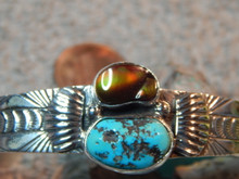 New Sterling Turquoise Fire Agate Bracelet By Navajo Russel  Sam