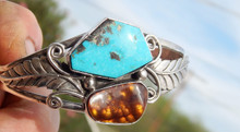 New Sterling Blue Diamond Turquoise Fire Agate Bracelet By Navajo Lorenzo James
