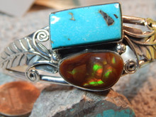 New Sterling Blue Diamond Turquoise Fire Agate Bracelet Navajo Lorenzo James