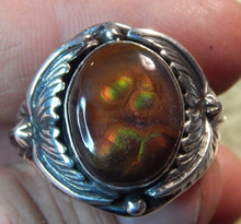New Mens Fire Agate Sterling Silver Ring by Navajo P. Yazzie Size 14 1/3