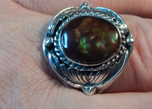 New Mens Fire Agate Sterling Silver Ring by Navajo P Yazzie Size 12 1/4