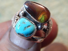 New Ladies Sterling Turquoise Fire Agate Ring Navajo Lorenzo  James Size 6