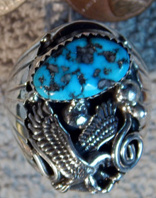 Mens New Sterling Silver Turquoise Eagle Ring by Mike Thomas size 11