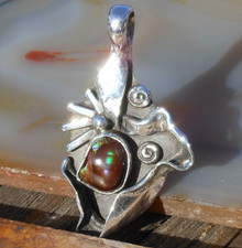 New Sterling Silver & Fire Agate Gemstone handmade pendant     257a