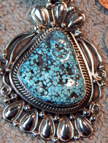 New Sterling Kingman Spiderweb Turquoise Pendant Navajo Lorenzo James