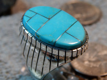 New Mens Sterling  Silver Turquoise  Inlay Navajo Ring Ray Jack Size 11 1/2