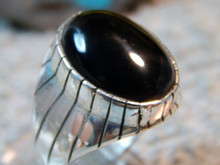 New Mens Onyx Sterling Silver Ring Navajo by Ray Jack Size 10 7/8