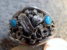 Mens New Sterling Silver Turquoise Eagle Ring Ray Yazzie Size 15
