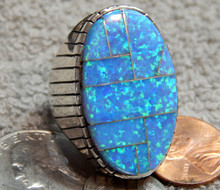 Mens Sterling Silver Navajo Created Opal Inlay Ring  Ray Jack Size 12