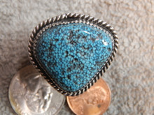 Mens New Black Spiderweb Turquoise Sterling Ring Navajo Russel Sam Size 13 1/2