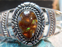 New Solid Sterling Silver Navajo Fire Agate Bracelet  Lorenzo James.